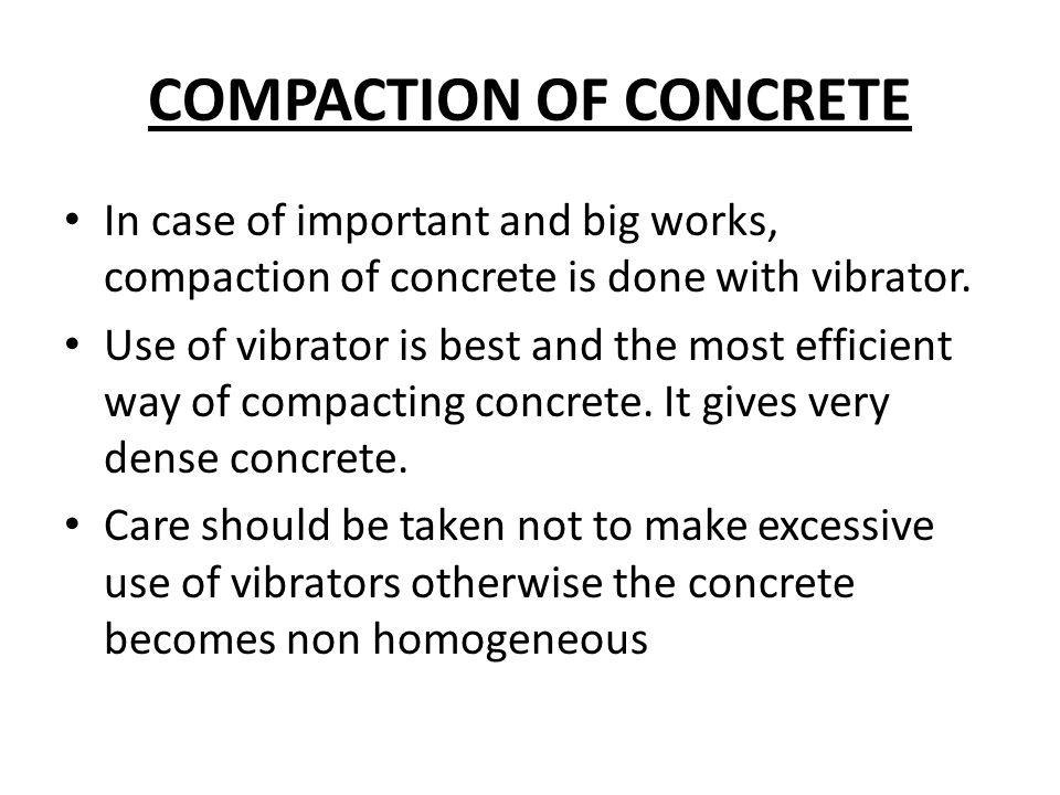 COMPACTION OF CONCRETE