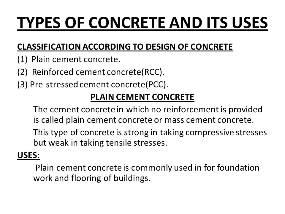 Engineering material chapter no 4 concrete ppt video for Types of foundation and their uses