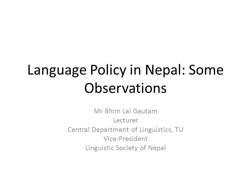 Language Policy in Nepal: Some Observations