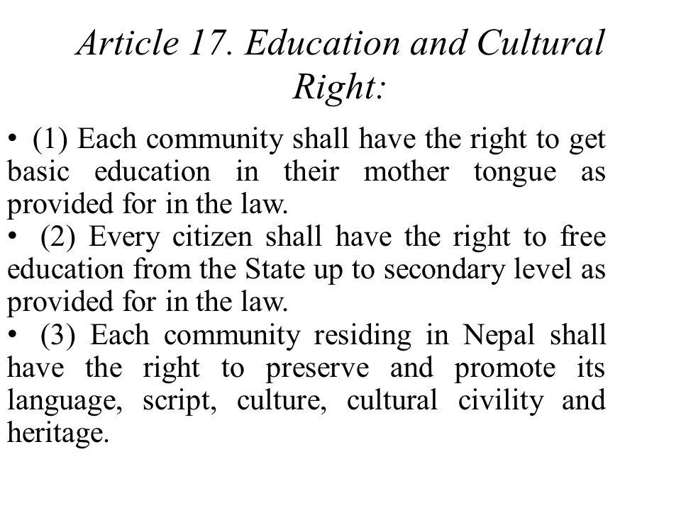 Article 17. Education and Cultural Right: