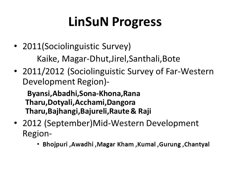 LinSuN Progress 2011(Sociolinguistic Survey)