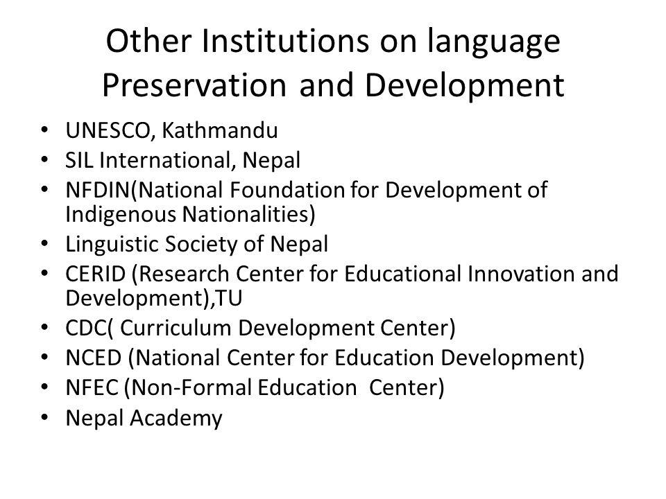 Other Institutions on language Preservation and Development
