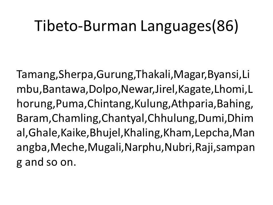 Tibeto-Burman Languages(86)