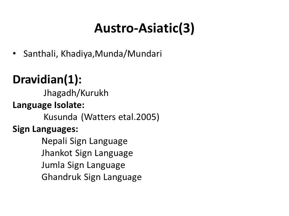 Austro-Asiatic(3) Dravidian(1): Santhali, Khadiya,Munda/Mundari