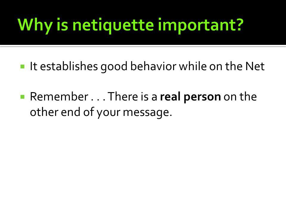 Why is netiquette important