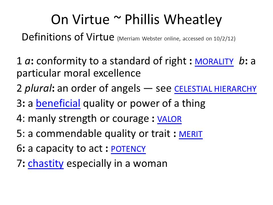 On Virtue ~ Phillis Wheatley