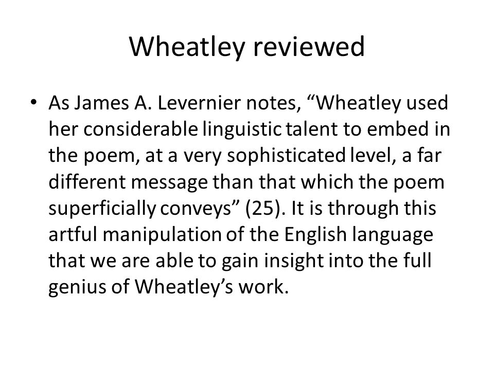 Wheatley reviewed