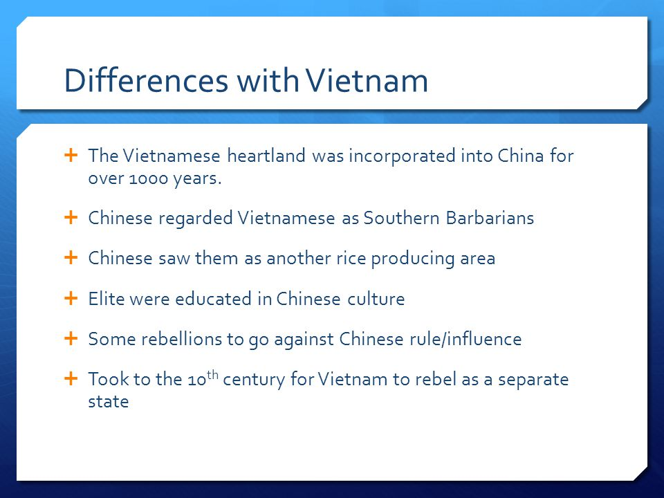 Differences with Vietnam