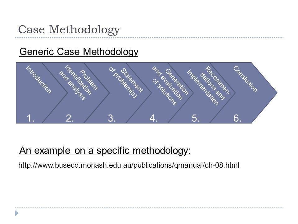 Case Methodology Generic Case Methodology 1. 2. 3. 4. 5. 6.
