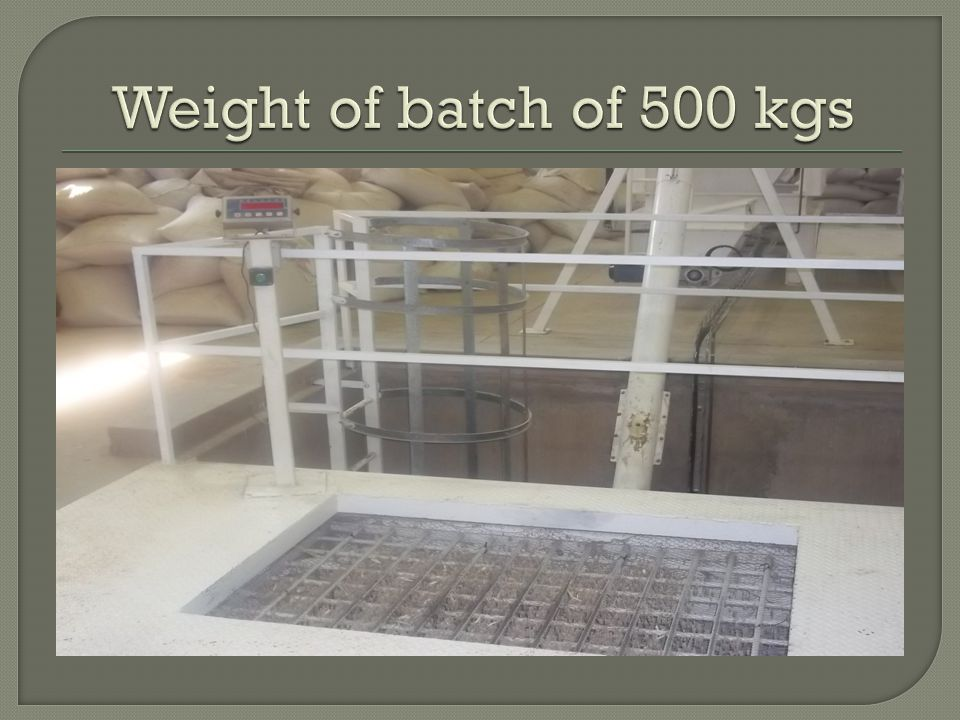 Weight of batch of 500 kgs