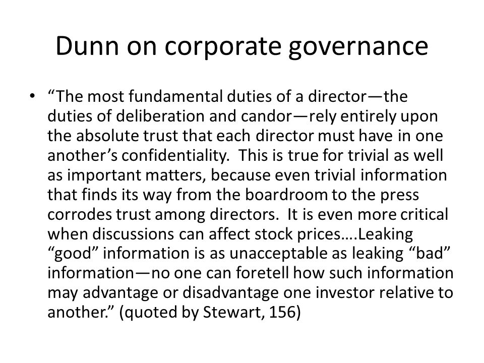 Dunn on corporate governance