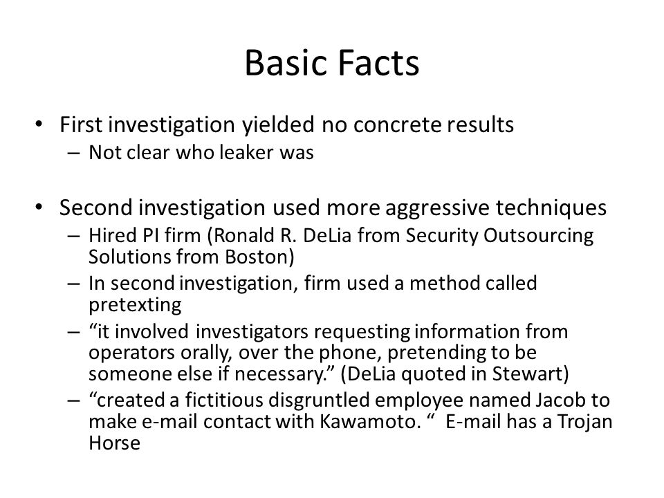 Basic Facts First investigation yielded no concrete results