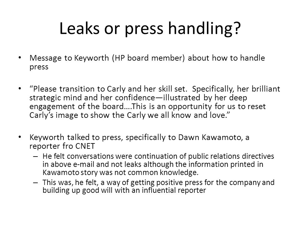 Leaks or press handling