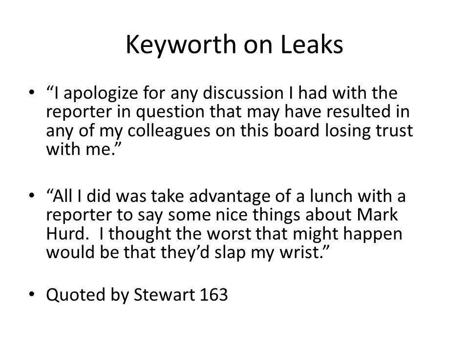 Keyworth on Leaks