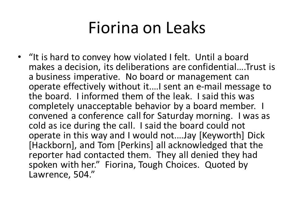 Fiorina on Leaks
