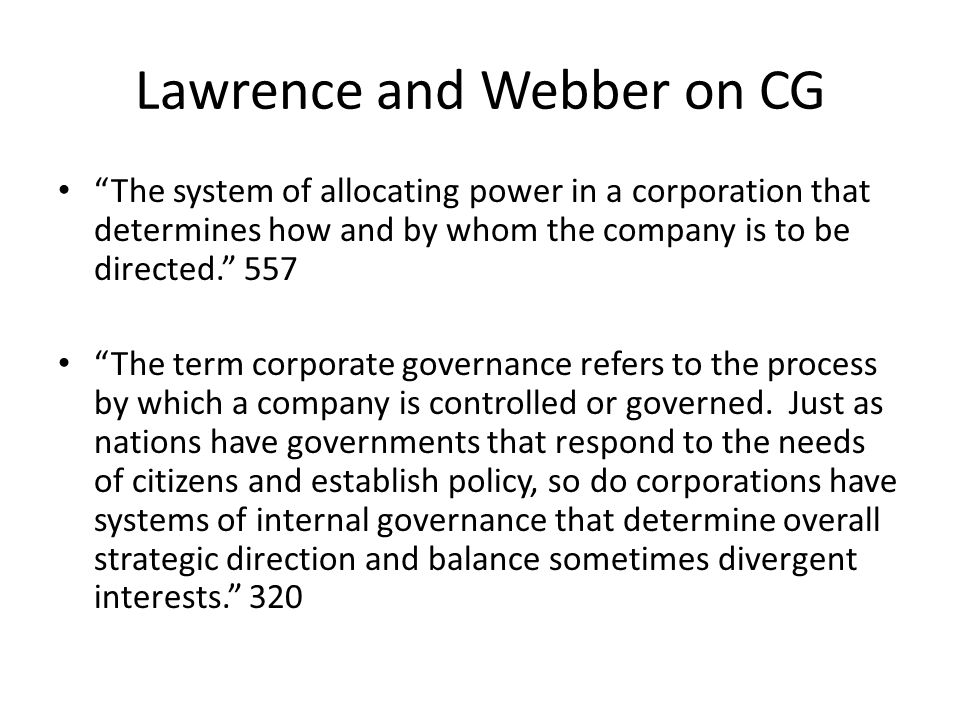 Lawrence and Webber on CG