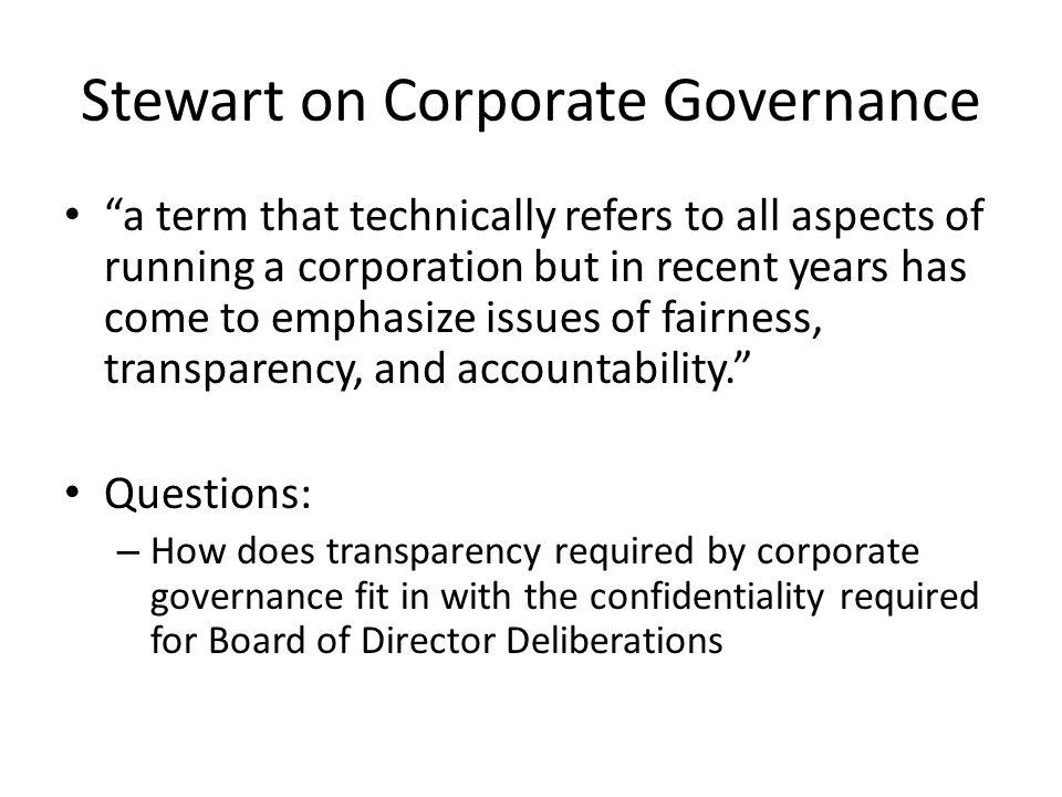 Stewart on Corporate Governance