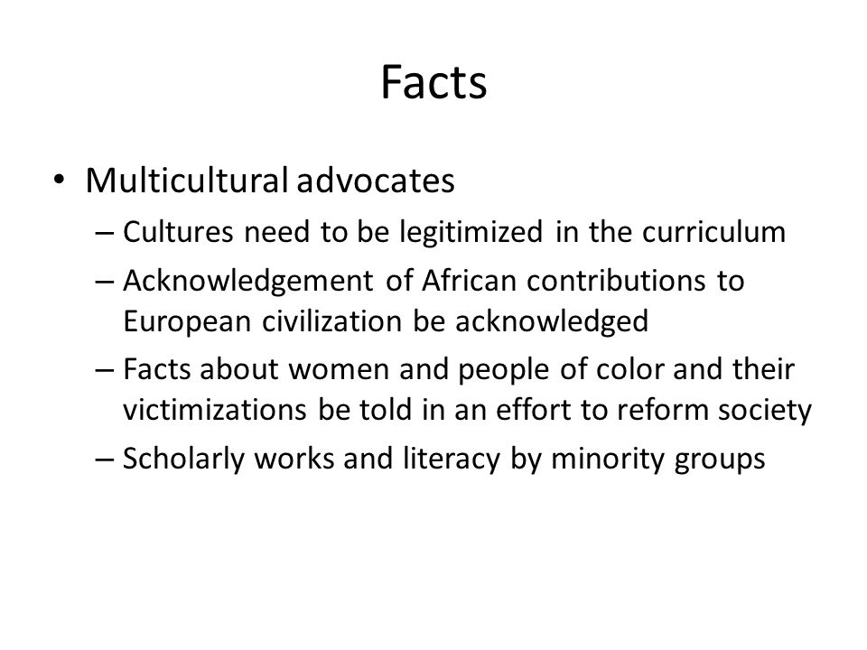 Facts Multicultural advocates