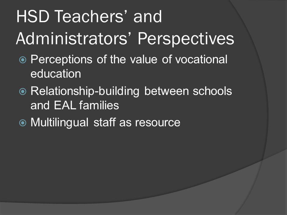 HSD Teachers' and Administrators' Perspectives