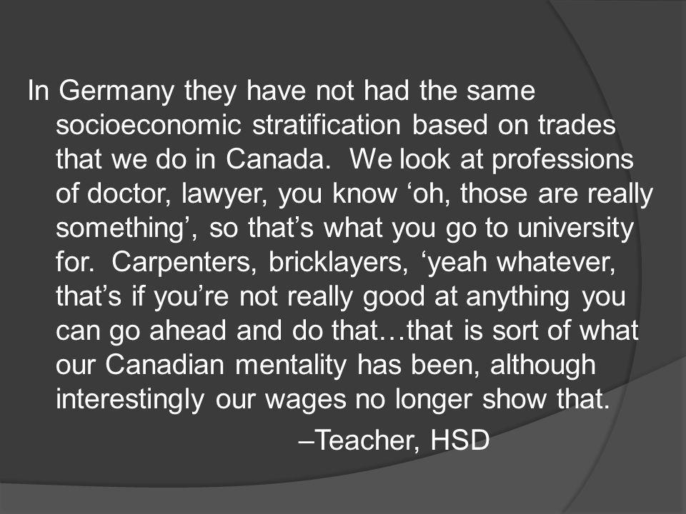 In Germany they have not had the same socioeconomic stratification based on trades that we do in Canada.