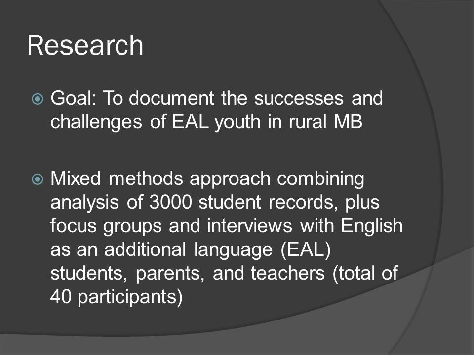 Research Goal: To document the successes and challenges of EAL youth in rural MB.