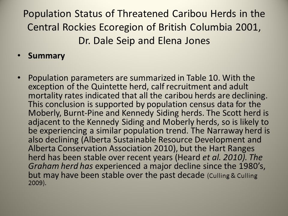 Population Status of Threatened Caribou Herds in the Central Rockies Ecoregion of British Columbia 2001, Dr. Dale Seip and Elena Jones