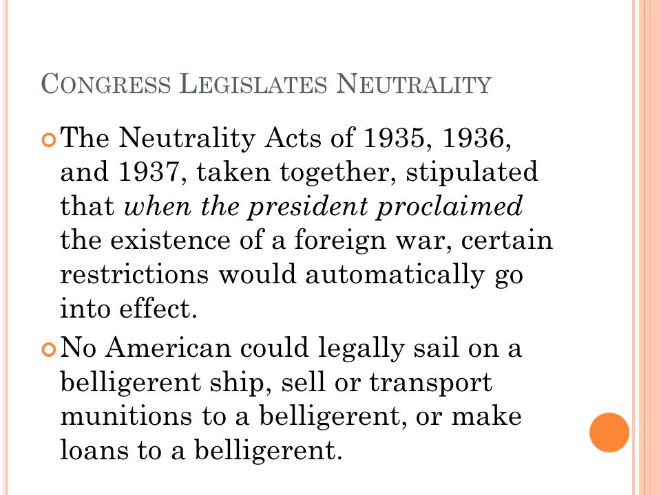 Congress Legislates Neutrality