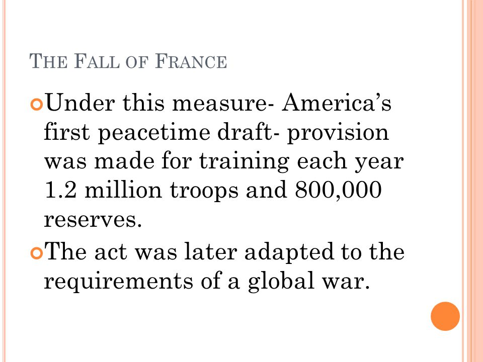 The act was later adapted to the requirements of a global war.