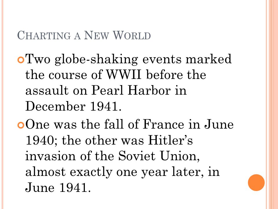 Charting a New World Two globe-shaking events marked the course of WWII before the assault on Pearl Harbor in December 1941.
