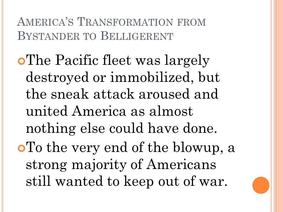America's Transformation from Bystander to Belligerent