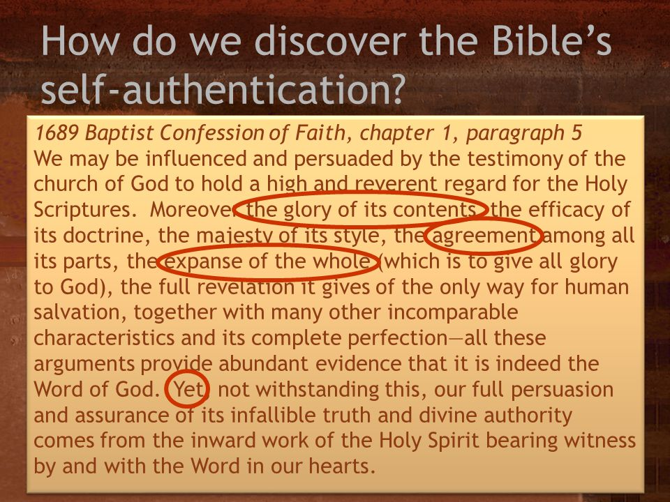 How do we discover the Bible's self-authentication