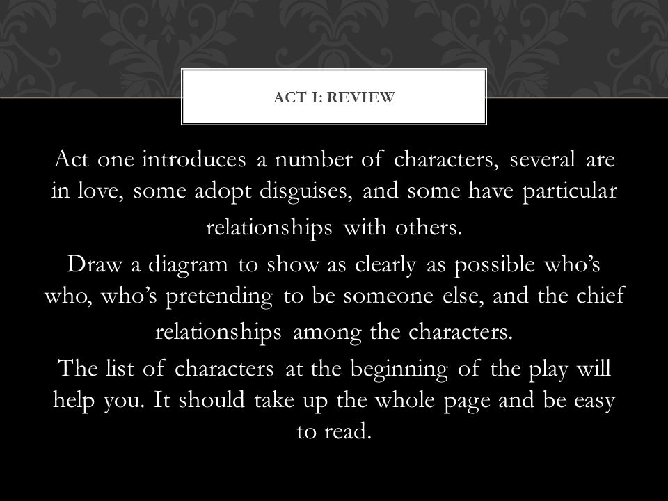 Act I: Review