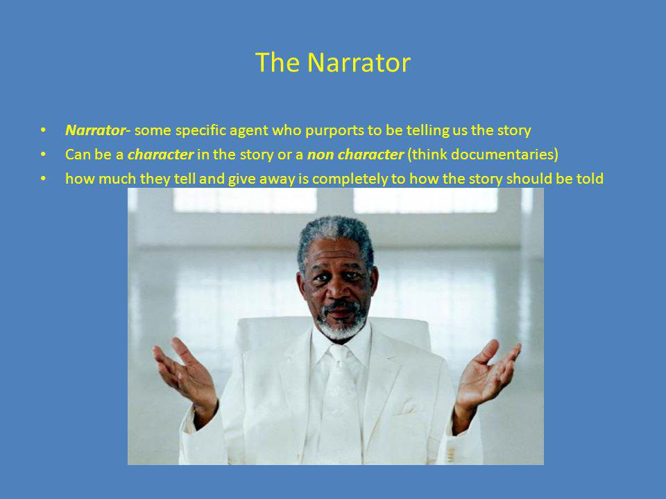 The Narrator Narrator- some specific agent who purports to be telling us the story.