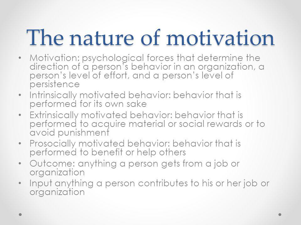 The nature of motivation