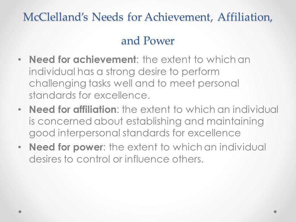 McClelland's Needs for Achievement, Affiliation, and Power