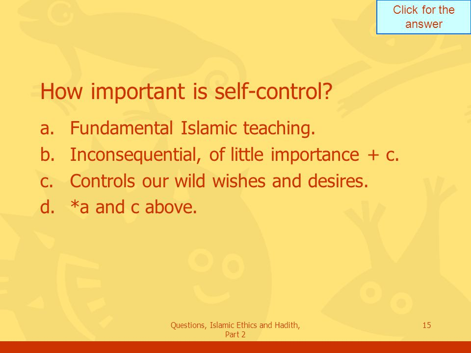 How important is self-control