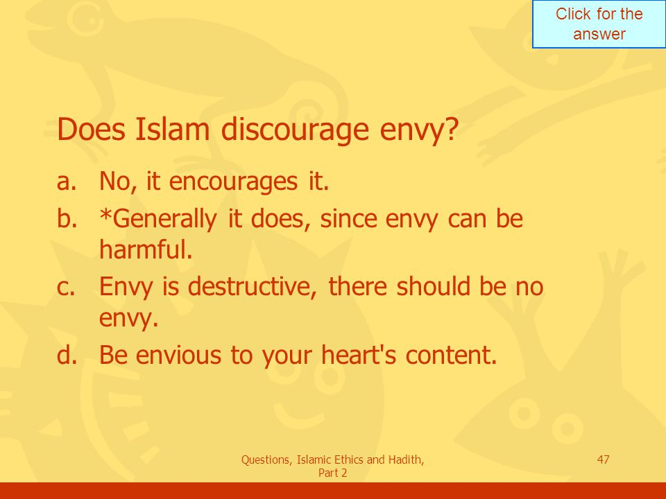 Does Islam discourage envy