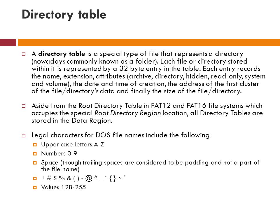 Directory table