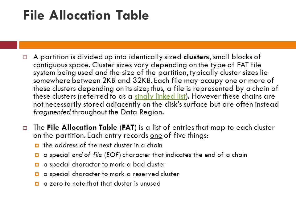 File Allocation Table