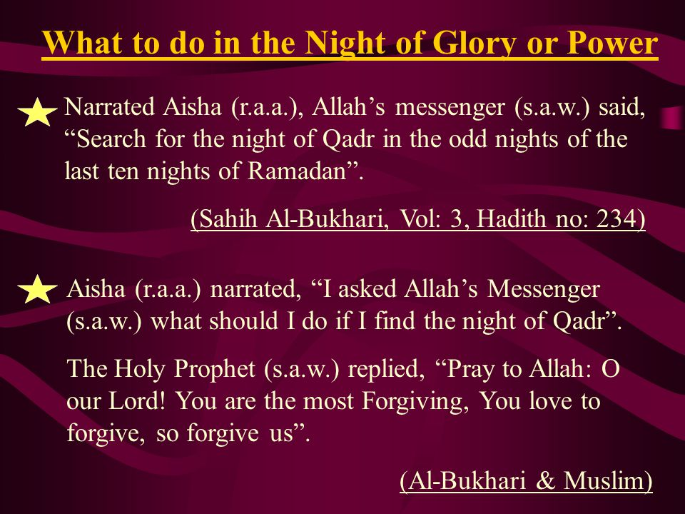 What to do in the Night of Glory or Power
