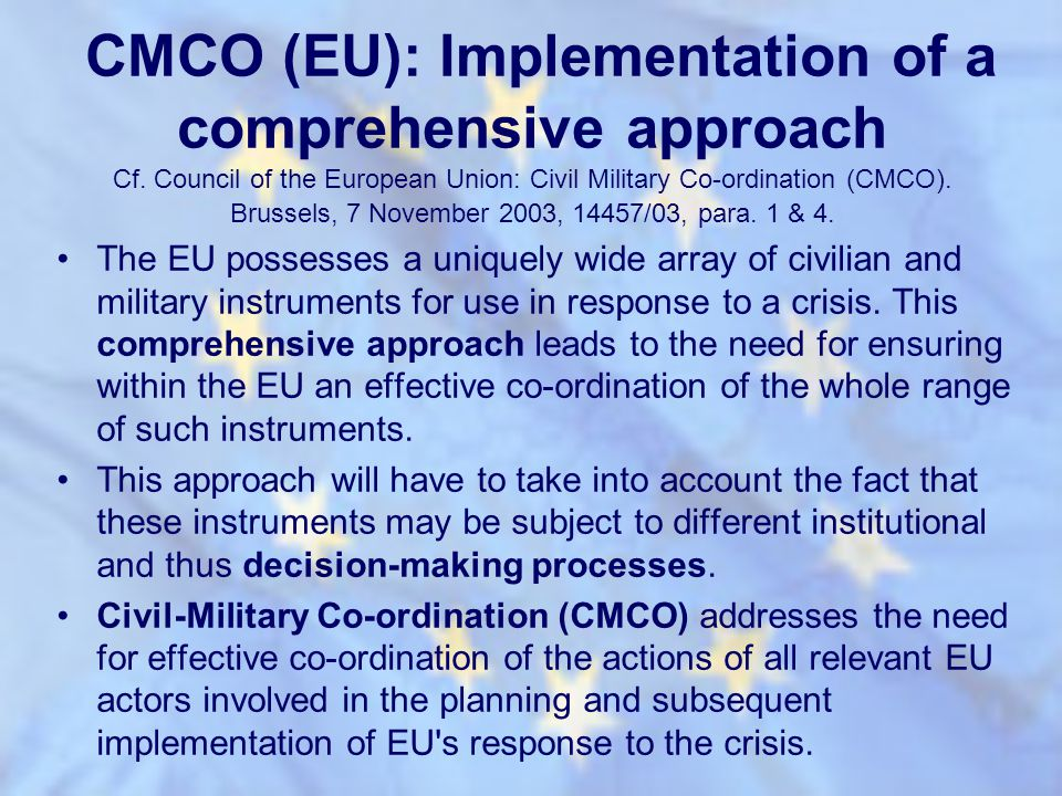 CMCO (EU): Implementation of a comprehensive approach Cf