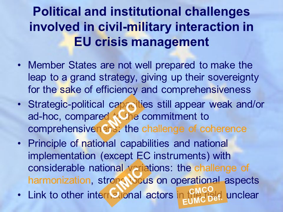Political and institutional challenges involved in civil-military interaction in EU crisis management