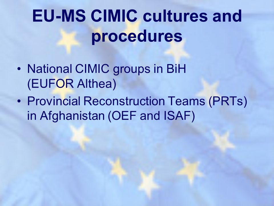 EU-MS CIMIC cultures and procedures