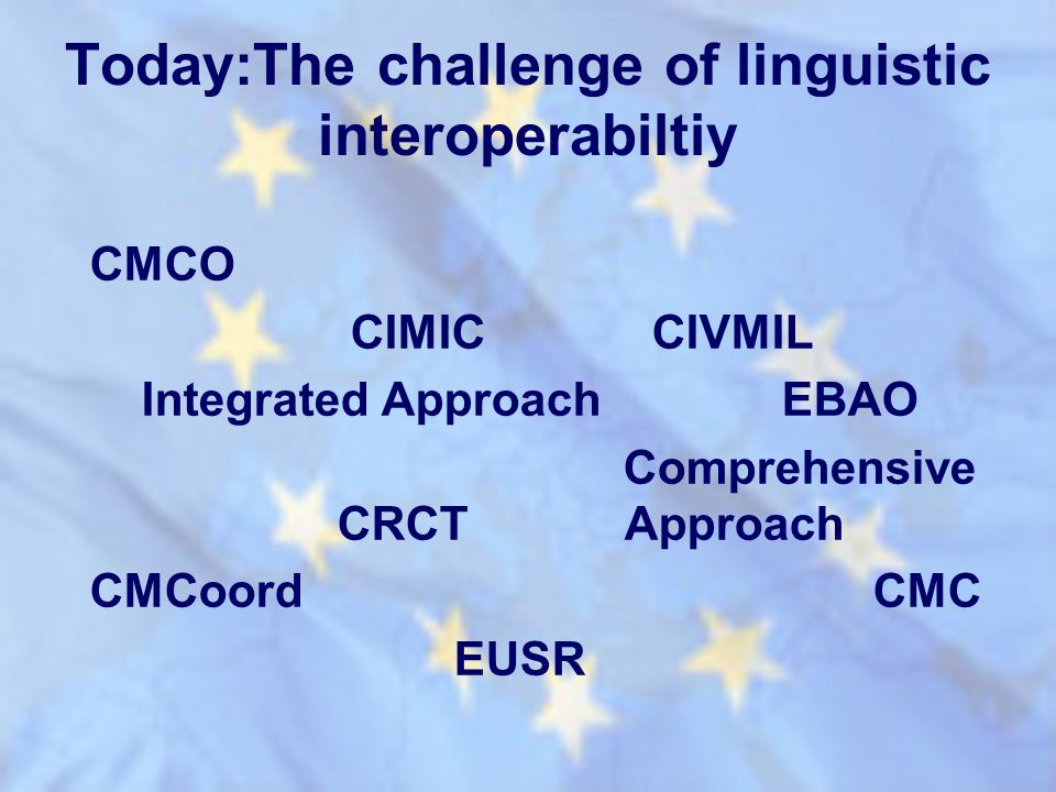 Today:The challenge of linguistic interoperabiltiy