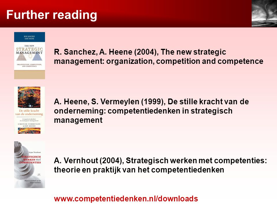 Further reading R. Sanchez, A. Heene (2004), The new strategic management: organization, competition and competence.