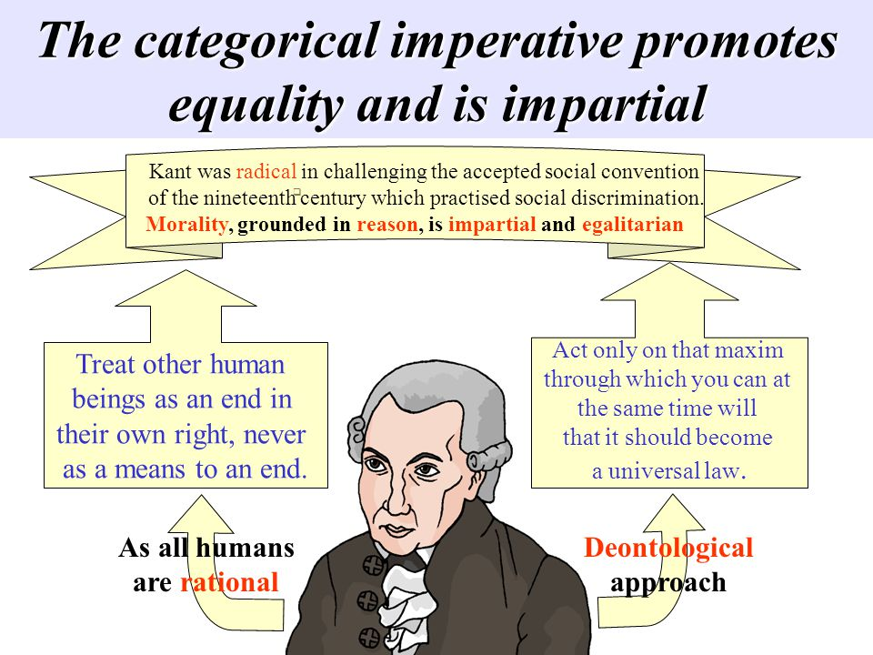 The categorical imperative promotes equality and is impartial