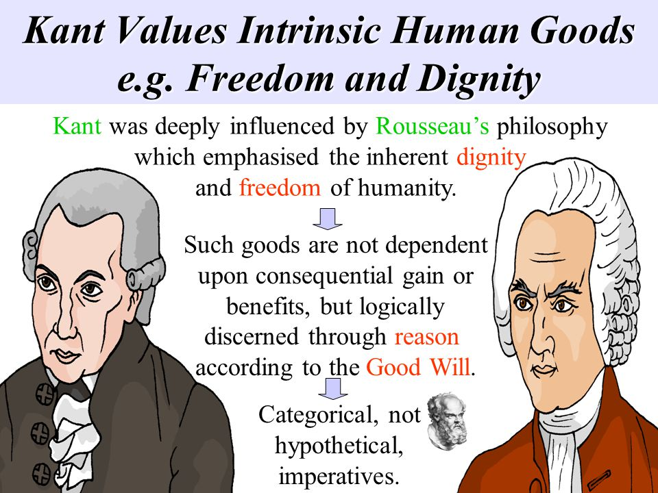 Kant Values Intrinsic Human Goods e.g. Freedom and Dignity