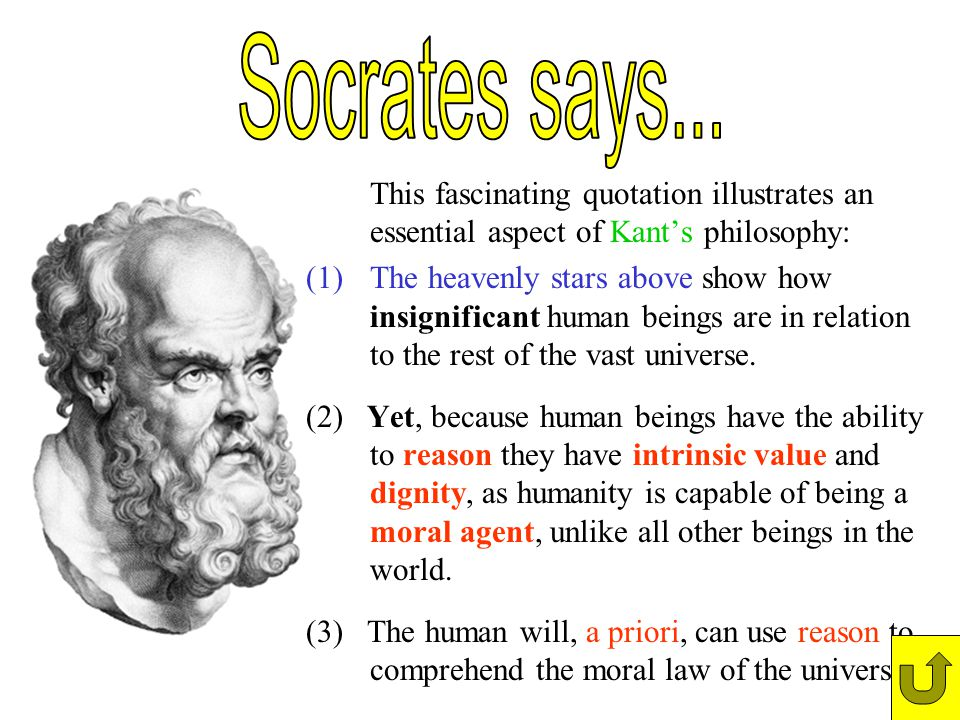 Socrates says... This fascinating quotation illustrates an essential aspect of Kant's philosophy: