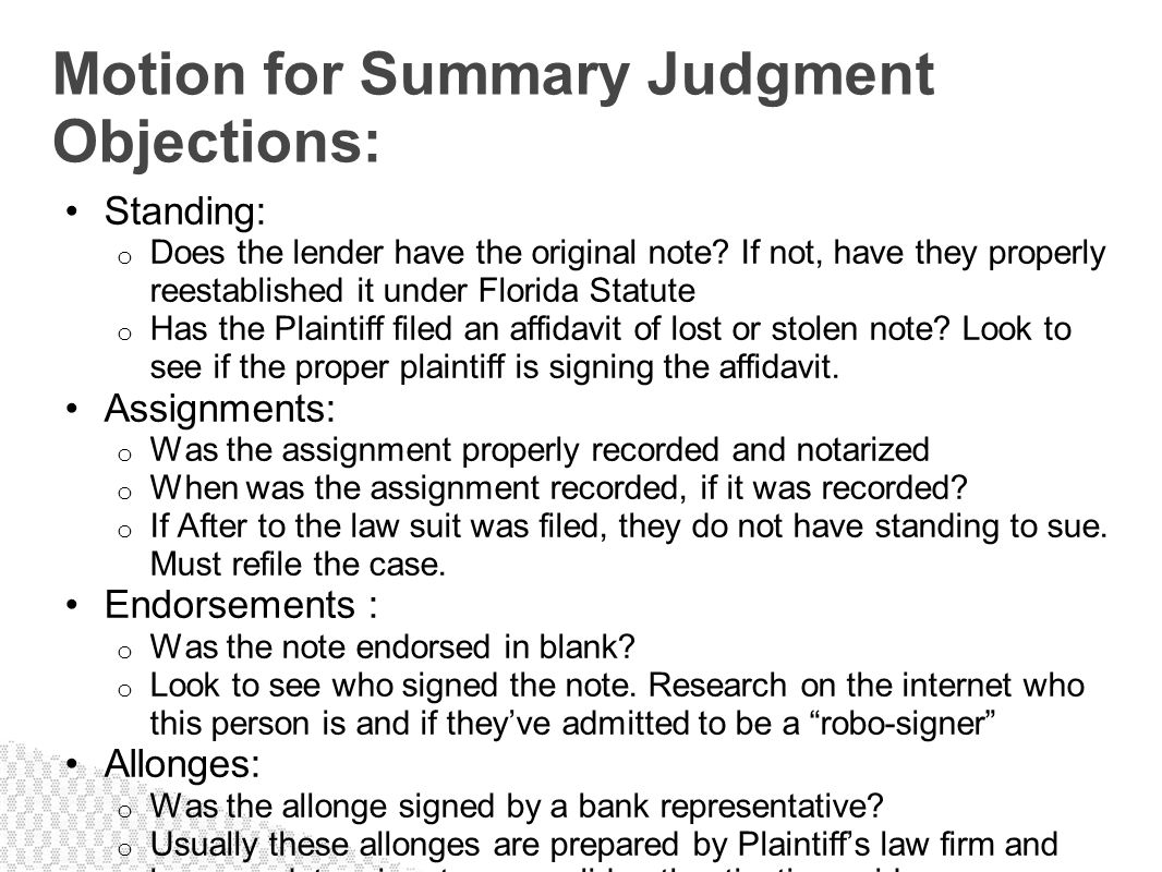 Motion for Summary Judgment Objections: