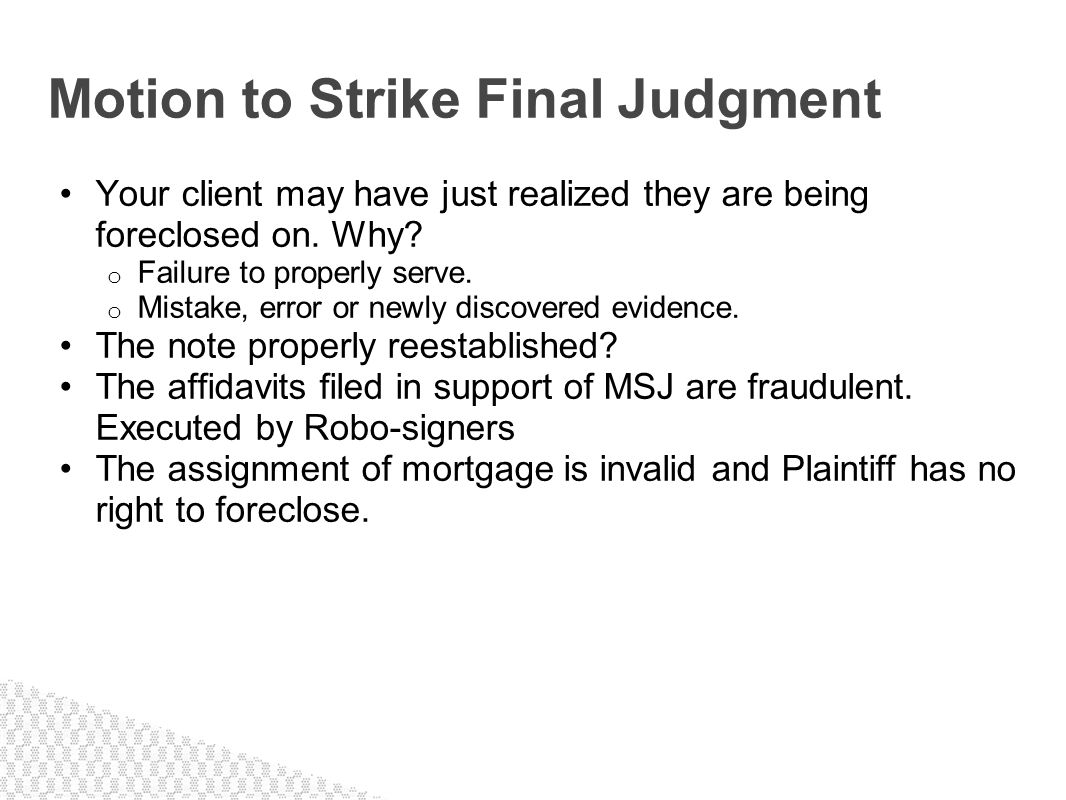 Motion to Strike Final Judgment